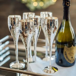 Silver Plated Hammered Champagne Flute Set - housewarming gifts