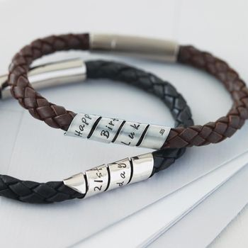 Personalised Open Scroll Mens Leather Bracelet