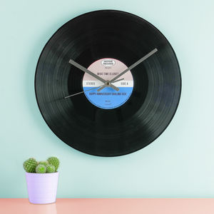 Personalised Vinyl Record Wall Clock - living room