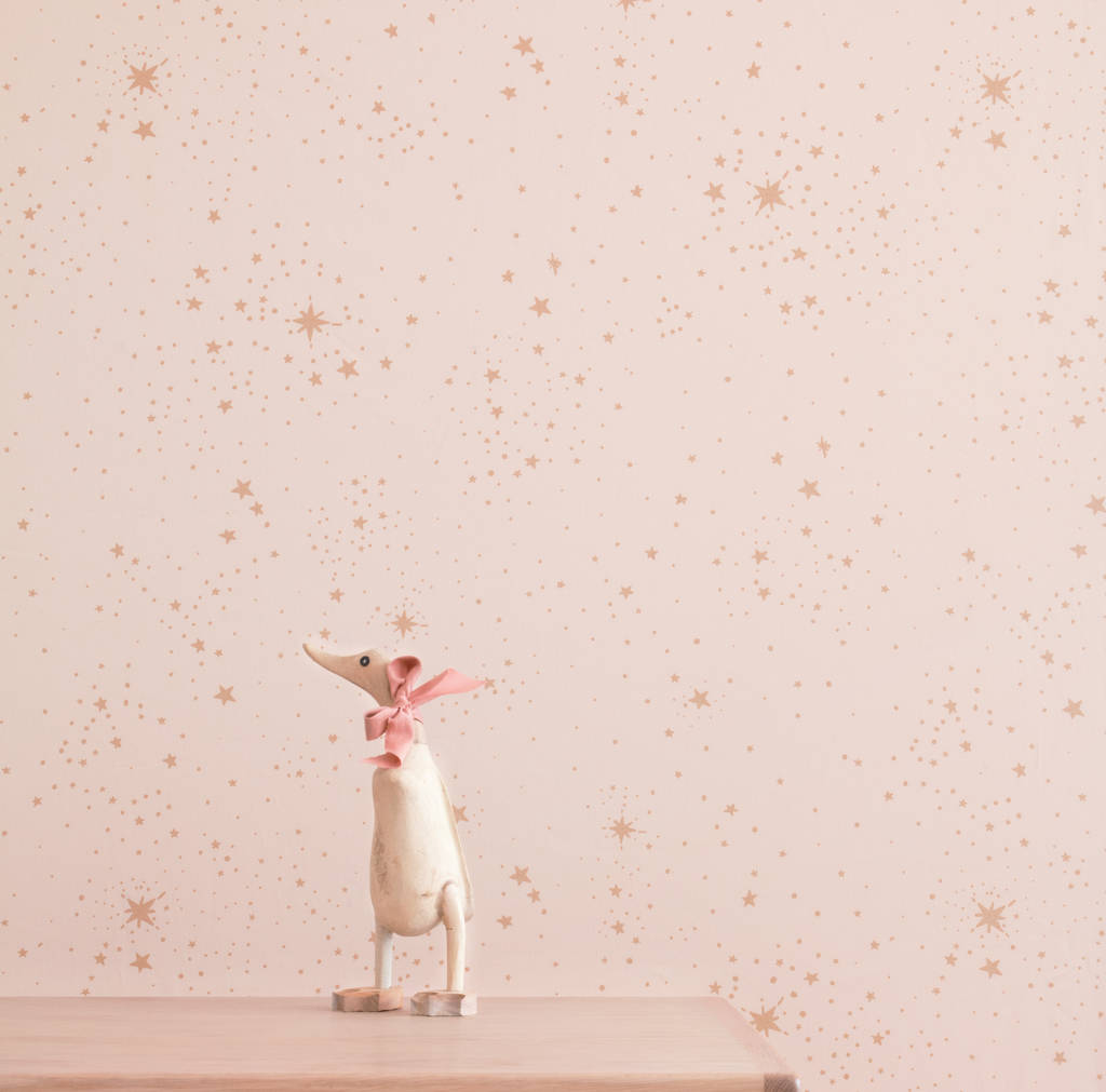 Girls Rose Gold Wallpaper: Dream Pink / Gold Stella Wallpaper By Little Ella James
