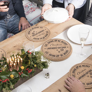 Set Of Four Personalised Christmas Cork Placemats - parties & entertaining