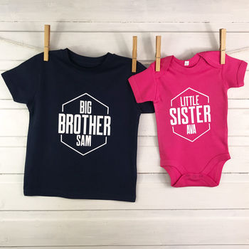 Personalised Hexagon Brother And Sister Set