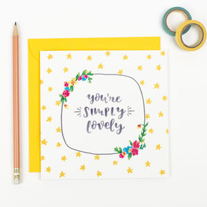 'Simply Lovely' Spring Floral Thank You Friend Card - thank you cards