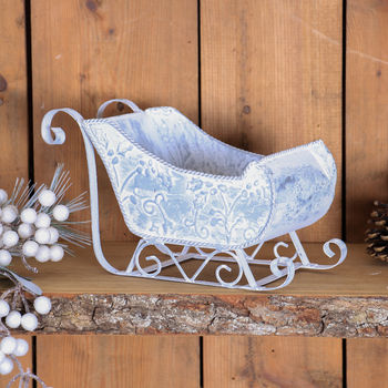 Distressed Metal Sleigh Decoration Basket