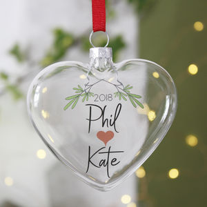 Personalised Mistletoe Christmas Bauble For Couples - tree decorations