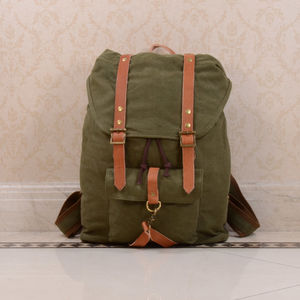 Canvas And Leather Strap Detail Backpack - mens
