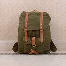 Canvas And Leather Strap Detail Backpack
