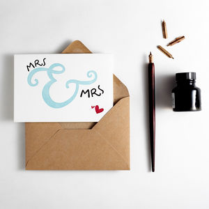 'Mrs And Mrs' Letterpress Wedding Card