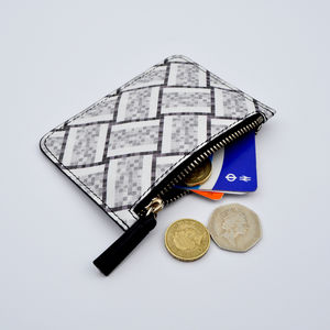 Tile Print Leather Purse