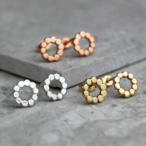 Solid Rose Gold And Silver Mini Pebble Studs