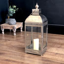 Moroccan Metal Hurricane Lantern Candle Holder