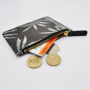 Screenprint Leaf Leather Purse
