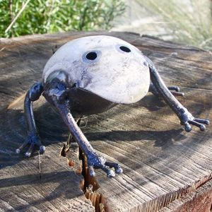 White Frog Garden Sculpture - art & decorations