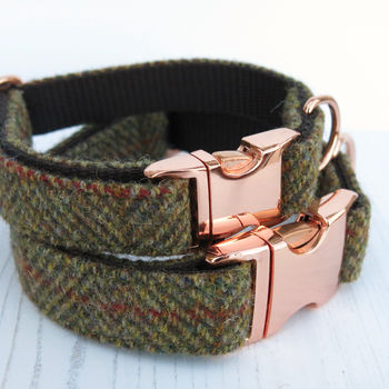 Huntsman Rose Gold Harris Tweed Dog Collar