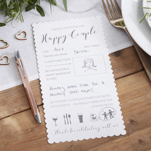 White Printed Advice Cards For The Bride And Groom - wedding day activities