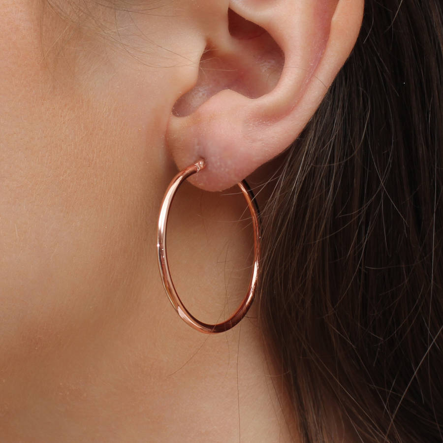 8ct Rose Gold And Yellow Large Hoop Earrings