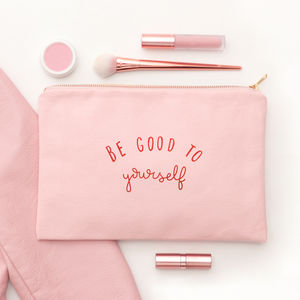 'Be Good To Yourself' Blush Pink Pouch - gifts for her