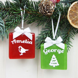 Personalised Handmade Glass Christmas Keepsake