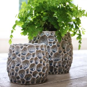 Grey Crator Plant Pot