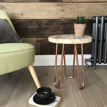 Reclaimed Stool Side Table With Copper Hairpin Legs