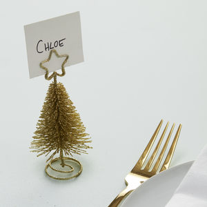 gold metal christmas tree shaped place card hold table decorations