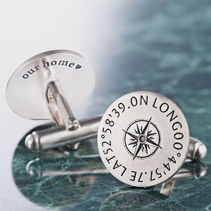 Personalised Sterling Silver Coordinates Cufflinks - wedding jewellery
