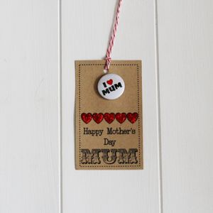 Handmade 'Happy Mother's Day' Gift Tag And Badge - finishing touches