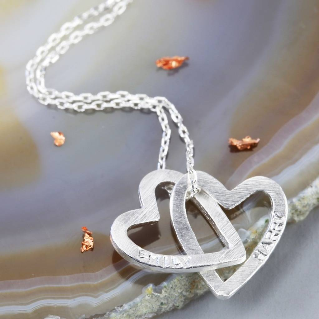 Personalised Interlocking Hearts Necklace By Lisa Angel
