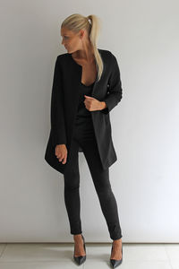 Black Textured Stripe Jacket - coats & jackets