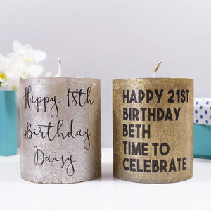 Personalised Birthday Metallic Candle - 21st birthday gifts