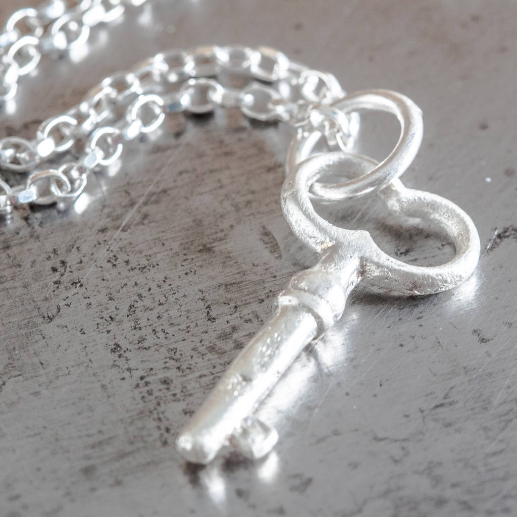 Sterling Silver Key Charm Necklace