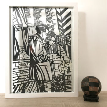 'Lovers Sharing Earphones' Original Papercut