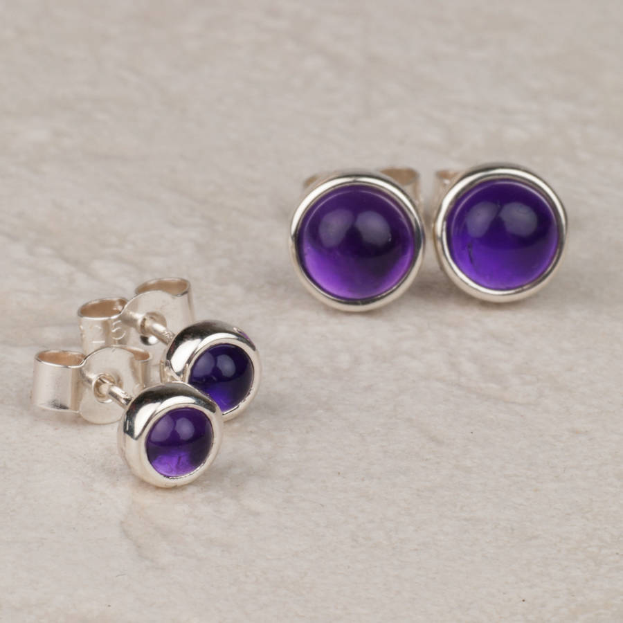 Two Sizes Of Earrings Available Amethyst Handmade Sterling Silver Studs 4mm Wide