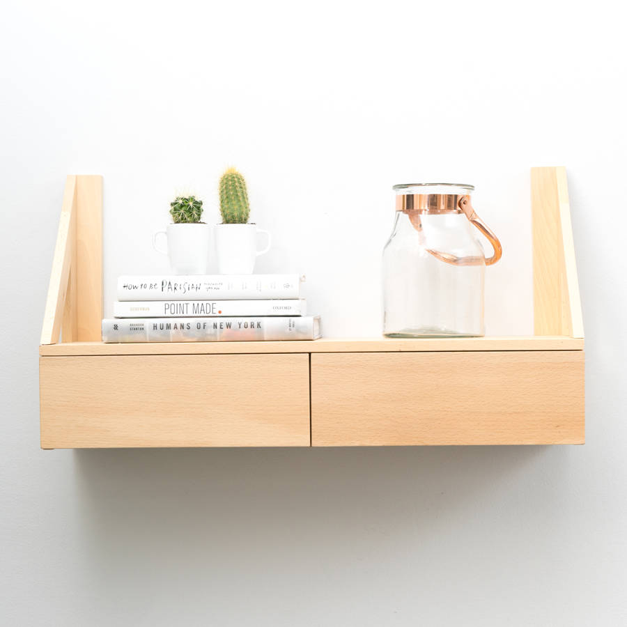 Floating Beech Shelf With Drawers By Urbansize
