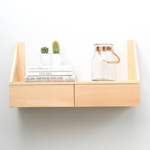 Floating Beech Shelf With Drawers - storage & organisers