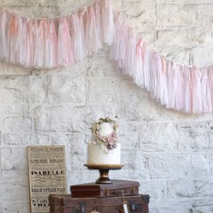 Hand Dyed Ombré Tissue Tassel Garland With Silk Ribbon - room decorations
