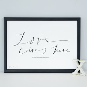 Personalised Art Print 'Love Lives Here'