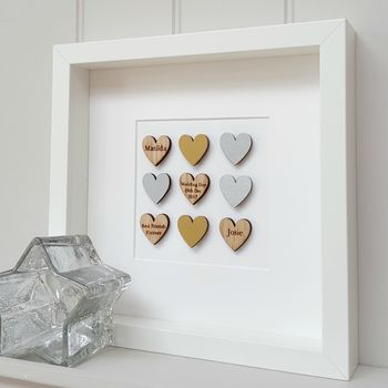Personalised Oak Wedding Anniversary Hearts Artwork