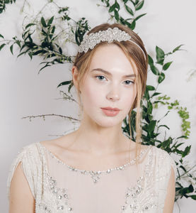 Vintage Brooch Diamante Wedding Headband - hothouse wedding trend
