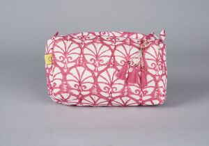 Madurai Carnation Makeup Bag In Indian Pink
