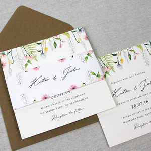 'The Katie' Wildflower Watercolour Wedding Invitation - wedding stationery