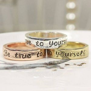 Be True To Yourself Quote Ring Rose Gold/Gold - rings