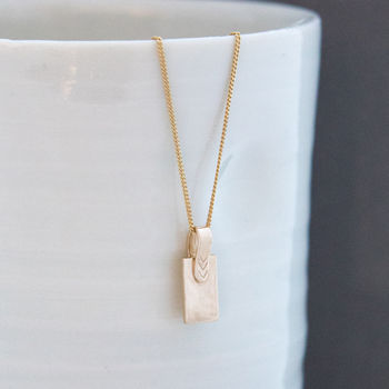 Gold Strap Initial Necklace