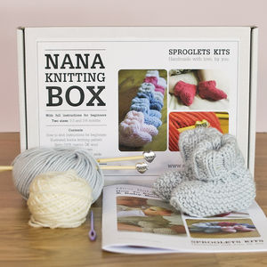 Nana Baby Booties Knitting Kit - knitting kits