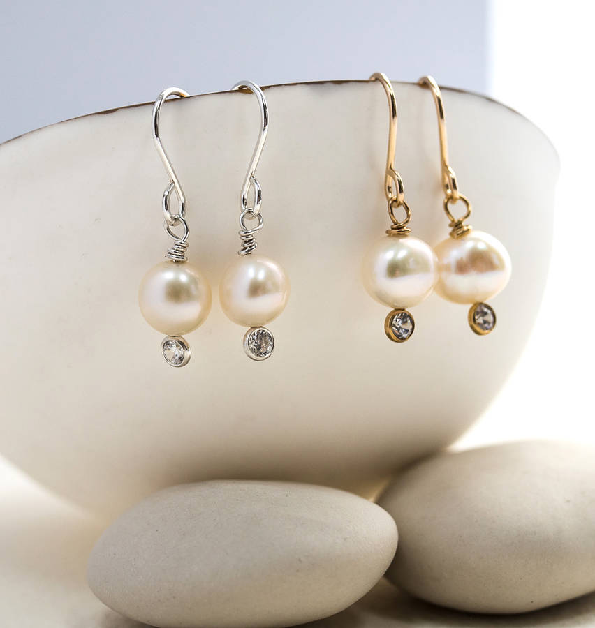 Pee Pearl And Crystal Drop Earring