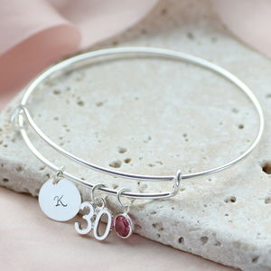 Special Birthday Birthstone Bangle - 21st birthday gifts