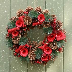 Snowbank Roses Wreath And Free Door Hanger