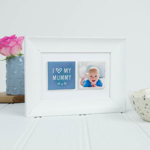 Personalised 'I Love My Mummy' Clay Tile Photo Frame
