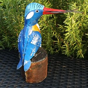 Handpainted Kingfisher Garden Sculpture