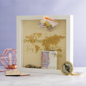 Personalised Trip Of A Lifetime Money Box Frame - storage & organisers